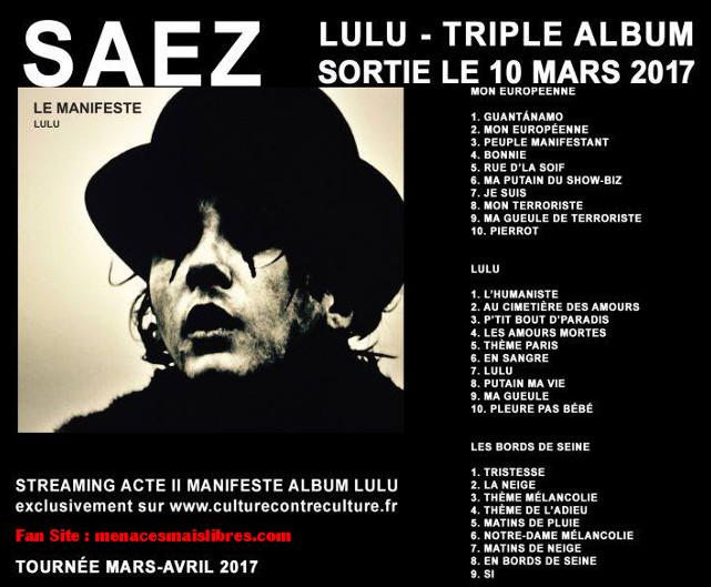 album lulu damien Saez mars 2017