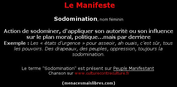"""Définition du mot """"Sodomination"""", terme déjà apparue """"Dans Le Bleu De L'absinthe"""""""
