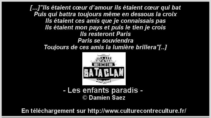 damien Saez les enfants paradis Bataclan