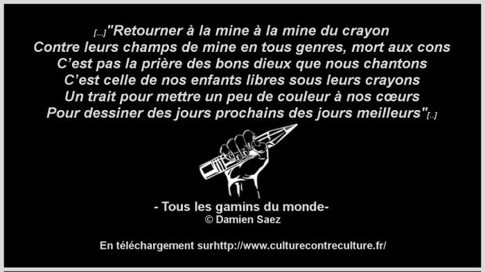 damien Saez tous les gamins du monde Charlie Hebdo
