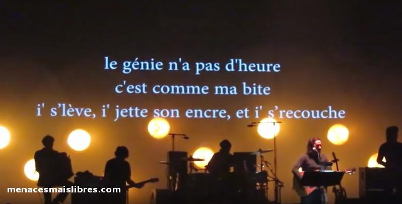 Texte affiché avant le début de la chanson Bonnie lors de la tournée
