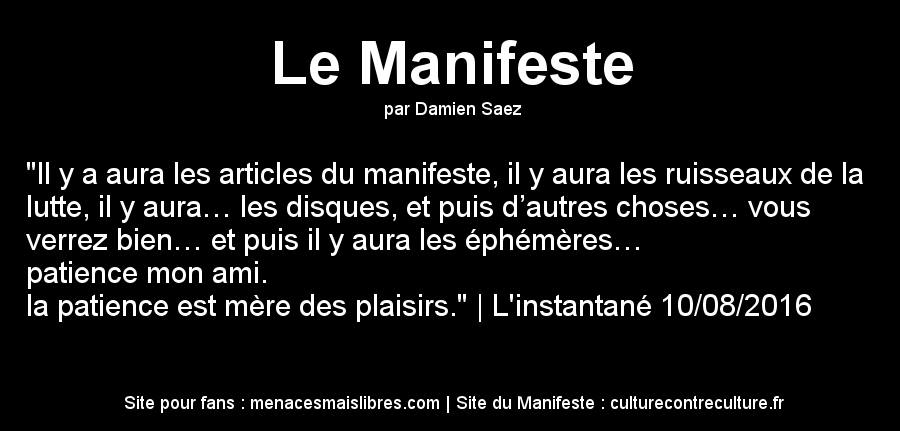 Texte de Damien Saez intitulé L'instantané